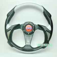 13inch Universal Racing Sport Car Steering Wheel Alloy + PU+PVC Leather Silver