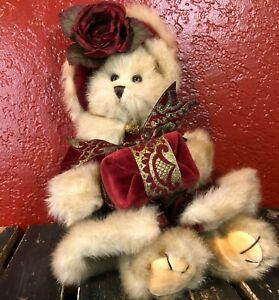The Bearington Collection Virginia 1072 Teddy Bear Christmas Plush Red Rose