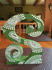 """Decorative Wood Letter """"S"""" Green and White"""