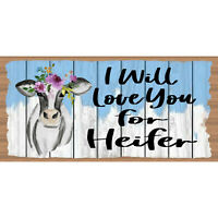 Romantic Wood Signs - Cow Sign -Heifer Plaque- GS 1007