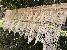 SHABBY~Vintage Hand Crochet Lace Window Curtain Valance Cafe Curtain~Beige/Ecru~