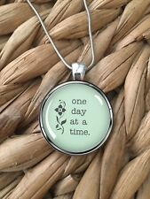 One Day at a Time Encouragement AA Gift Glass Pendant Silver Chain Necklace NEW