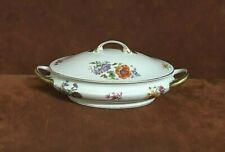 Vintage Bohemia Czecho Slowakia Oval Tureen Serving Dish w/Lid ~ Floral Rose