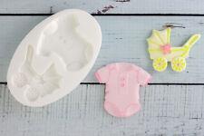 Silicone Mould, Baby shower,Pram, Stroller, Babygrow, Romper,Sleepsuit, M136