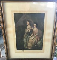 Hand Colored Aquatint of Thomas Gainsborough's Portrait of The Linley Sisters