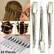 24X Metal Hair Sectioning Clips Set Sprung Strong Grip Hairdressing Hair Clip