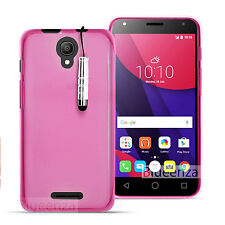 For Alcatel Phone Models - Gel Silicone Clear Cover Pudding Gel + Touch Stylus