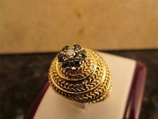 Vintage Retro Aladdin Design Ring 14k Solid Yellow Gold Diamond And Sapphires
