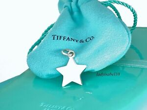 Tiffany & Co. Sterling Silver Star Engravable Charm Pendant w Pouch  Gift  2112B