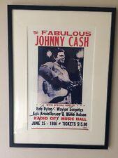Johnny Cash Poster Concert 1986 Signed. Framed. COA.