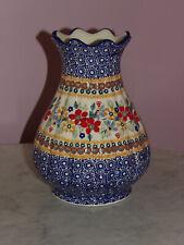 "Polish Pottery 8"" Scalloped Tear Drop Vase! UNIKAT SIgnature Rembrandt!"