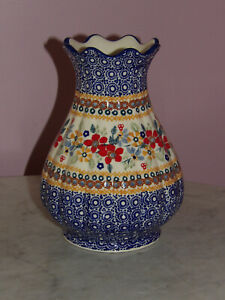 "Polish Pottery 8"" Scalloped Tear Drop Vase! UNIKAT SIgnature Rembrandt!"
