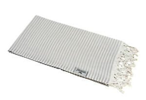 Hamam Cloth Fouta Stripes Light Grey Lightweight Delicate Pestemal 90x180 100%