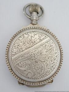 Antique Massive Rosskopf 800 Fine Silver Hunter Box Case Pocket Watch