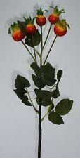 Hagebuttenzweig grün/rot/orange 66cm Hagebutte Kunstblumen Dekoration