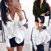 Latest Women Lapel Collar Striped Long Sleeve Botton Shirt OL Formal Blouse Tops