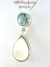"Estate Sterling Silver 925 Round Blue Topaz & Pear Mop Pendant 925 18"" Chain"