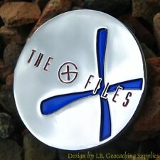 X-FILES Themed Geocoin - Blue Version (Trackable+Icon)