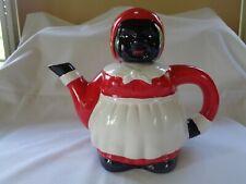 Vintage Ceramic Figural Teapot Black/Red/White!