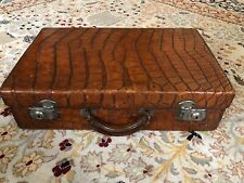 Antique Vintage British Edwardian Crocodile Leather Suitcase