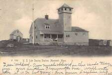 Manomet Massachusetts Life Saving Station Street View Antique Postcard K59972