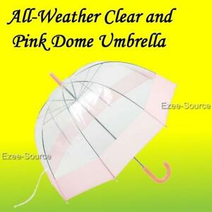 Wholesale Lot of 12pc All-Weather Clear and Pink Dome Umbrella 42""