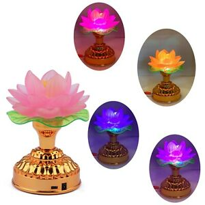 LED Buddhist Lotus Altar Light Color-Changing Gradient Lamp Cord / Battery Power