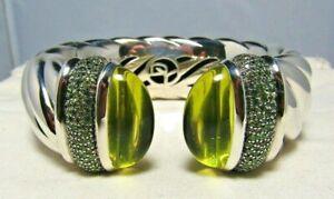 David Yurman Sterling Silver Lemon Citrine & Peridot 25M Waverly Cuff Bracelet