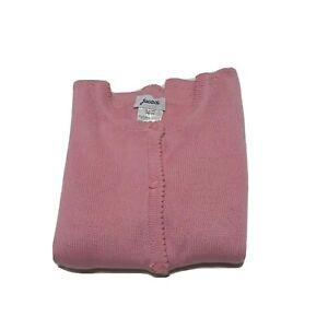 Jacadi Girls Knit Cardigan Sweater Pink Wool Blend Ribbed 10 yr 140 cm EUC