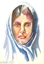 Original Water Color Painting, Muslim Woman Portrait Artist Signed Framed 16x20""