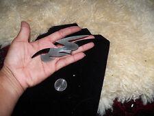 Stunning huge Modernist Victoria studio silver tone black plastic pin brooch