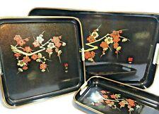 Three Piece Japanese Lacquerware Nested Tray Set Cherry Blossom w/ Gold Rim