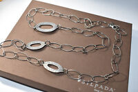 "Silpada N1506 Sterling Silver Oxidized Hammered Oval Link Necklace 35"" .925 $99"