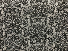 Rayon Stretch Jersey Knit Fabric Beautiful Lace Print black on Gray print 9 oz