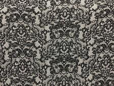 Rayon Stretch Jersey Knit Fabric Beautiful Lace Print black on Gray print 9 oz