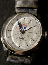 """VINTAGE SWISS MADE WIND UP WATCH BRADLEY FRENCH FLAG """"THE TIME IS"""""""