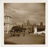 WWII 1944-5 USAAF airman's Italy 7x7 Photo Army trucks & jeeps in  Rome square