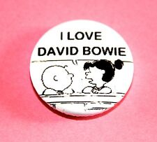 I LOVE DAVID BOWIE CHARLIE BROWN SNOOPY PEANUTS INSPIRED BUTTON PIN BADGE