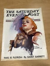 1937 MARCH 13 THE SATURDAY EVENING POST MAGAZINE Tom Webb Cover Florida Waltz