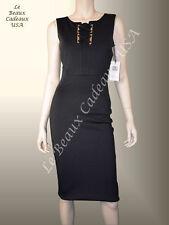 IVANKA TRUMP Women Dress BLACK Sz 4 Knee METAL ACCT Sleeveless Dressy LBCUSA NEW