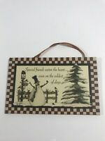 Special Friends Warm SNOWMAN SIGN Wall Door Art Winter Christmas Holiday Plaque