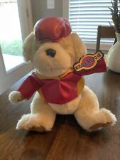 New listing Vintage Kuddle Me Toys plush dog wearing red/yellow leather coat & Hat. 11�. Nwt