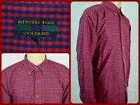 Alexander Julian Red Blue Gingham Btn Front Oxford Sport Dress Shirt Mens XL