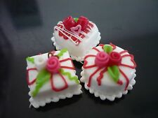 3 Mini White Cake Rose Top Dollhouse Miniatures Food Deco Bakery Valentine Day 4