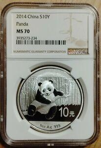 CNC: 10 Yuan China 2014 Panda NGC MS 70