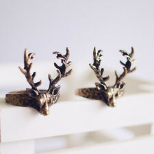Women Vintage Retro Gothic Punk Style Bronze Sika Deer Finger Ring Jewelry