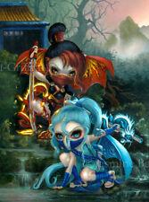 Jasmine Becket-Griffith art japanese fairies BIG print SIGNED Ninja Dragonlings