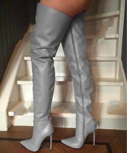 Sexy Full Zip Grau gr.42 Overknees Schenkelhoch Stiefel Damenstiefel High Heels