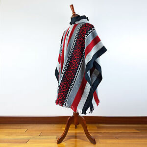 LLAMA WOOL MENS WOMANS UNISEX HOODED PONCHO PULLOVER SWEATER JACKET BLACK RED