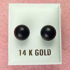 14K Gold - 8mm Black Onyx Ball Stud Earrings (GE024)